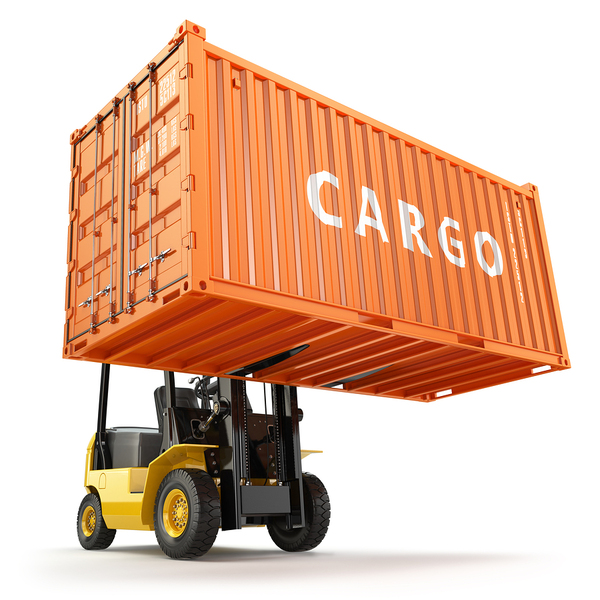 electric forklift lifting cargo