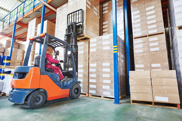 electric forklift in warehouse