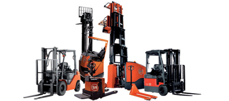 multiple toyota forklifts